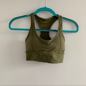 Khaki sports bra with removeable padding